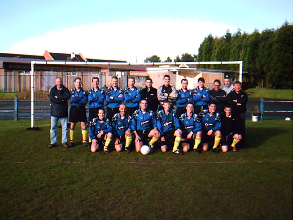 Alan Jacka, (coach), Adrian James, Richard Croad, Tyrone Pope, Wayne Morgan, Ross Hutchins, Barry Whitelam, Phil Watson, Elliott Davey, John Jenkins, (trainer), Peter Shilton and Phil Preene, (manager).In front are John Cooper, Pepe Mele, Barry Quinn, (captain), Craig Roberts, Geraint Williams, Gavin Step and Craig Williams